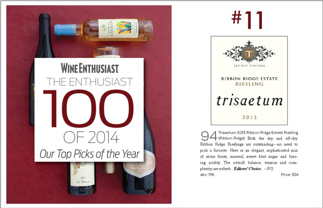 2013 Ribbon Ridge Estate Riesling - 94 Points & #11 on The Enthusiast Top 100 of 2014